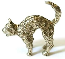 CAT WITH ARCHED BACK FINE PEWTER FIGURINE Approx. 1 inch tall T178