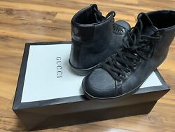 Gucci Rare Dark GreenGG High Top Sneakers Lace Up Monogram Shoes Authentic $450.00