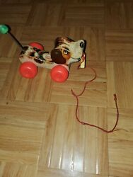 Vintage Original 1965 Fisher Price Little Snoopy Dog Pull Along Wood Toy No. 693