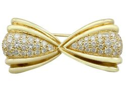 Vintage 1980s 1.68ct Diamond And 18k Yellow Gold Bow Brooch