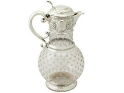 Antique Victorian Cut Glass And Sterling Silver Mounted Claret Jug