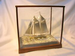 Japan Vintage .970 Sterling Silver Model Sailing Boat With Case - Very Nice