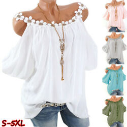 Women Summer Lace Crew Neck Cold Shoulder T Shirt Casual Solid Blouse Loose Tops $12.82
