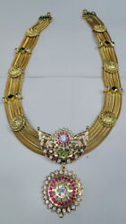 22K Solid Gold Necklace Rubies and cubic zircon 13045