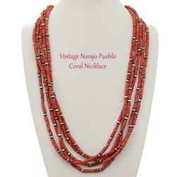 Antique Coral Bead Necklace Navajo Natural Mediterranean 160g Old Pawn