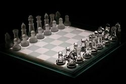 Glass Chess Set - Frosted And Clear Glass Pieces And Glass Boar - Free Shipping