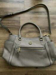 TORY BURCH Large Shoulder Handbag stone grey- Preowned EXCELLENT condition $110.00