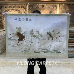 Yilong 2'x3' 400line Houses Tapestry Silk Carpet Home Decor Area Rug 017h