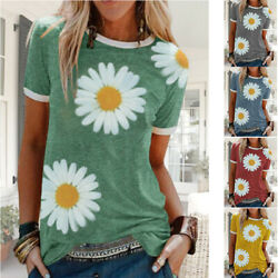 Women Summer Short Sleeve Casual Crew Neck T Shirt Floral Print Loose Top Blouse $13.64