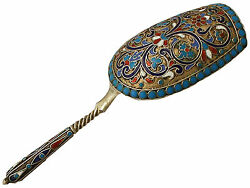 Antique Russian Silver Gilt And Polychrome Cloisonnandeacute Enamel Caddy Spoon