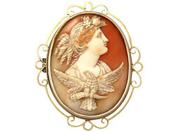 Antique Circa 1880 Carved Shell And 15k Yellow Gold Cameo Brooch
