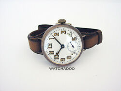 Vintage Ww1 Military Trench Silver Watch Enamel Dial With Original Leather Strap