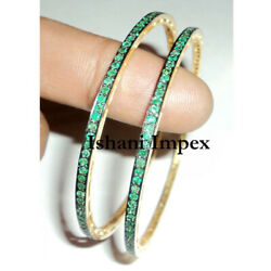 Natural Emerald And 925 Sterling Silver 2 Pieces Victorian Handmade Bangle