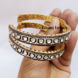 Natural Rose Cut Diamond And Polki 925 Sterling Silver Victorian 2pieces Bangle