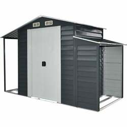 3-In-1 Galvanized Steel Multi-Use Shed Separate Firewood Storage Open Extension