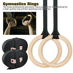 1set Wood Gymnastic Ring Olympic Strength Training Gym Rings Wooden Crossfit