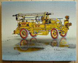 H. Hargrove, Serigraph, Fire Engine Automobile Firefight Lakewood Fire Dept.