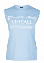 Versace Women's T-shirt Snow-white Black Agate Round Collar New Collection Eco