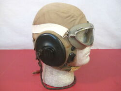 Wwii Us Army Air Force Aaf Type An-h-15 Flying Helmet Wired W/goggles Lg - 1944