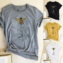 Summer Women Funny Top Let It Bee Printed Tee Casual Loose Cute Graphics T Shirt $8.99