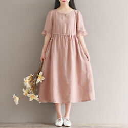 2020 New Literary Fan Short Sleeve Loose Plus Size Womenand039s Cotton And Linen Dres