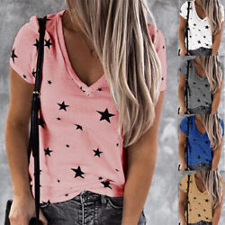 Women Summer Short Sleeve V Neck T Shirt Pentagram print Blouse Casual Loose Top $13.48
