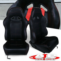 Pair Pvc Leather Red Stitching Racing Seat With Sliders Black For 240sx 300zx