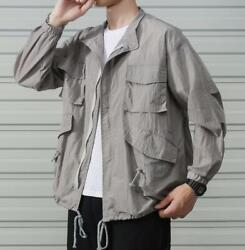 M-5xl Hommes Summer Loose Coat Breathable Fat Tooling Jacket Thin Tops Long Slee