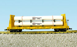 Usa Trains G Scale 17615a Pipe Load Flat Car Chessie 79512 With Beth Steel Load