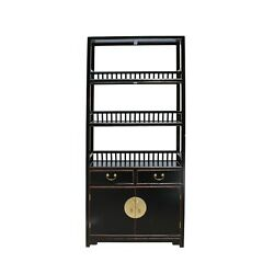 Chinese Distressed Black Lacquer 3 Shelves Bookcase Display Cabinet Cs5720