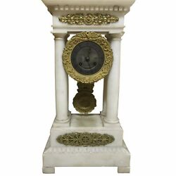 French Charles X Marble And Brass Portico Mantel Clock Circa 1860
