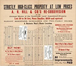 Chicago Antique 1909 Advert. Map Of Albany Park Argyle + Christiana Ave. Repro