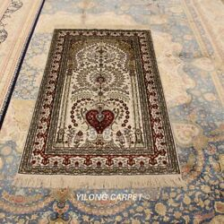 Yilong 3and039x5and039 White Handmade Silk Home Carpet Tree Of Life Pattern Area Rugs 853b