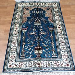 Yilong 3and039x5and039 Blue Tree Of Life Handmade Area Carpet Hand Knotted Silk Rugs 324b