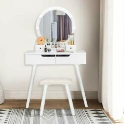 Vanity Table Set With 10 Led Lights Makeup Dressing Desk With Cushioned Stool