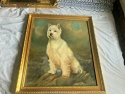 Beautiful Large Oil Painting Of West Highland Terrier