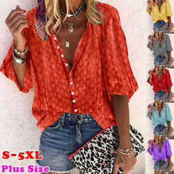Women Summer Casual Short Sleeve T Shirt V-Neck Tops Floral Loose Blouse $10.37
