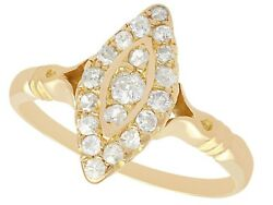 Antique 0.41 Ct Diamond And 14k Yellow Gold Marquise Ring 1910s Size 6.5