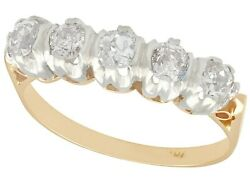 Antique 0.42 Ct Diamond And 15 K Yellow Gold Five Stone Ring, 1910s, Size 5.5