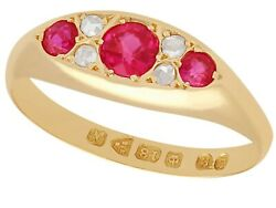 Antique Synthetic Ruby And Diamond Ring In 18k Yellow Gold Size 8.25