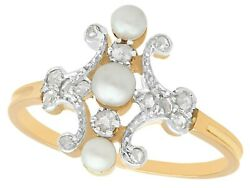 Pearl And 0.25ct Diamond, 18ct Yellow Gold 18ct White Gold Set Dress Ring, Antique