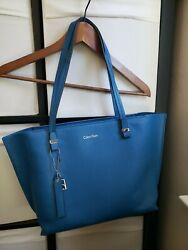 Calvin Klein Blue Saffiano Leather Large Tote Bag Handbag Preowned $7.70