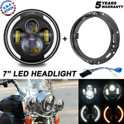 Halo 7 Led Headlight + Ring Mount For Harley Road King Electra Glide Motorcycle
