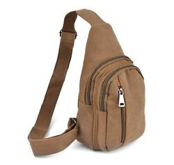Westend Brown Crossbody Canvas Sling Bag Backpack with Adjustable Strap $15.29