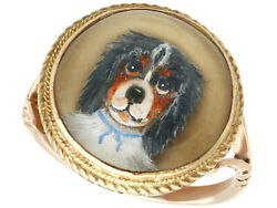 Antique Victorian Essex Crystal And 9k Yellow Gold Dog Dress Ring