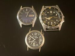 Lot Of 3 Vintage Men's Wrist Watches, Seiko, Casio, Military, Not Working