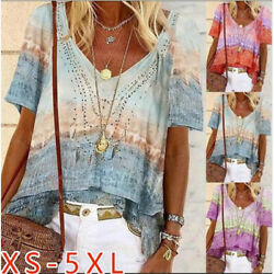 Summer Womens Casual Short Sleeve T Shirt V Neck Tops Floral Loose Blouse $15.74