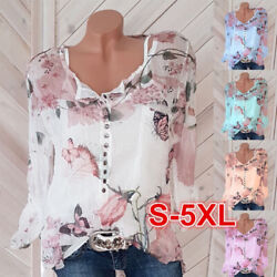 Women Summer Long Sleeve Chiffon V Neck Floral Print Blouse Casual Loose T Shirt $13.64