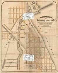 Chicago Antique Advert Map Of East Side Additions By Taylor 1873+1874+1882 Repro
