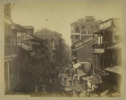 Kalbadevi Street In Bombay C1880s Photo - Shops And Pedestrians